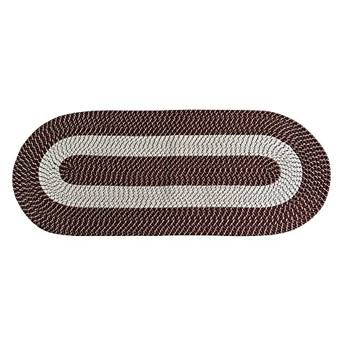 (Braided Rug Runner, Traditional Rustic Reversible Oval Braided Accent Rug 24''Wx60''L, Washable Braided Indoor Outdoor Area Rug Floor Carpet for High Traffic Areas (Coffee Runner))