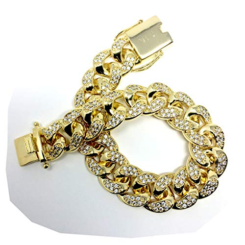 Gold Plated All ICED Out Simulated Diamond Cut Miami Cuban Link Chain Bracelet for Men Real 10MM, 14K Karat Heavy w Solid Thick Clasp US Made 8.5 INCH -