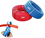 PEX Tubing B Pipe 3/4 100 Feet Red 100' Blue Water Polyethylene Flexible Pipes Non Oxygen Barrier Potable Tubes Hot Cold PEX-B Expandable Plastic 3/4 Inch Crimp Hose Free Cutting Crimping Tool