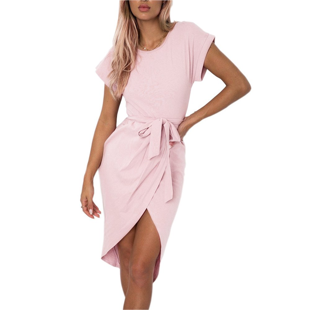 01 pink pinklux Women's Casual Short Sleeve Front Slit Summer MidCalf Dress Sexy Solid Party Dress with Belt