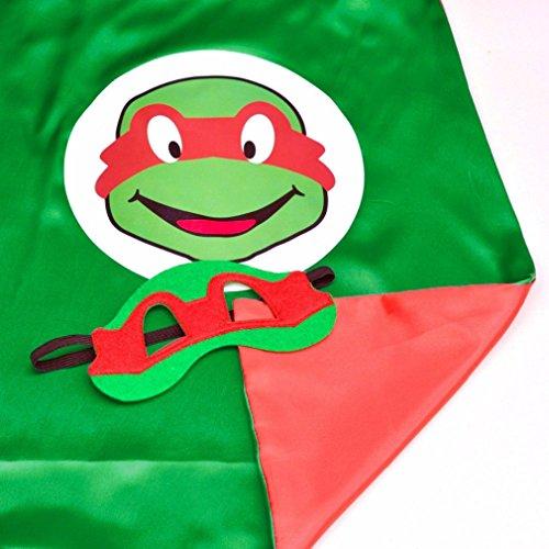 Superhero or Princess CAPE & MASK SET Kids Childrens Halloween Costume (Turtle Red (TMNT Raphael)) (Ninja Turtles Halloween Costumes)