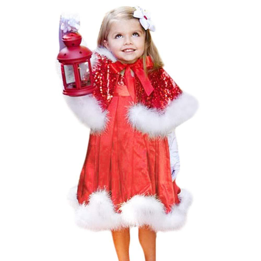 BaZhaHei Bambini, Outfit Natale Set, Bambino Bambini Bambine Natale Vestiti Costume Partito Abiti 2pcs Set Scialle + Cappello Vestito, Costume di Babbo Natale Bambino Elegante