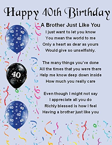 Personalised Fridge Magnet Brother Poem 40th Birthday Gift Box