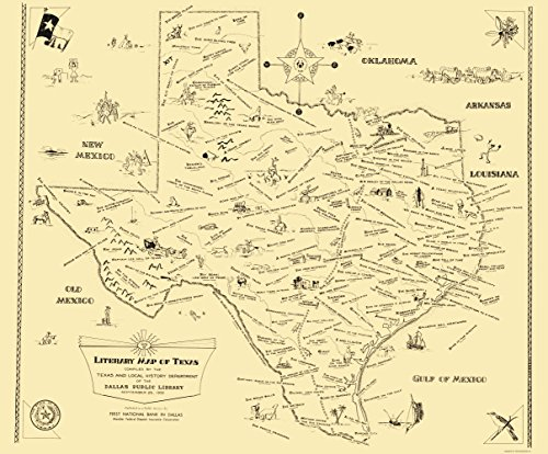 Old State Map   Texas Literary Map   National Bank Of Dallas 1955   23 X 27 78   Glossy Satin Paper