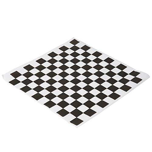 (Black and White Checkered Food Grade Wax Coated Paper, 100 Pack)