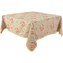 """Vintage Flower Decorative 35.4 x 35.4"""" Square Linen Tablecloth by HIGHFLY - Printed Pattern Washable Table cloth Dinner Home Decor - Multi Colors & Sizes"""
