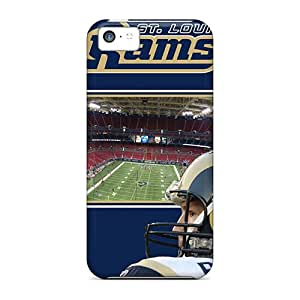 Shock-Absorbing Hard Cell-phone Case For Iphone 5c With Unique Design Beautiful St. Louis Rams Pattern AlissaDubois