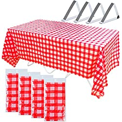 Coobey 4 Pack Plastic Red and White Checkered Tablecloths Tablecovers Table Cloth Cover Picnic Table Covers with 4 Pieces Tablecloth Clips Stainless Steel Table Cover Clamps Party Catering Events Tabl