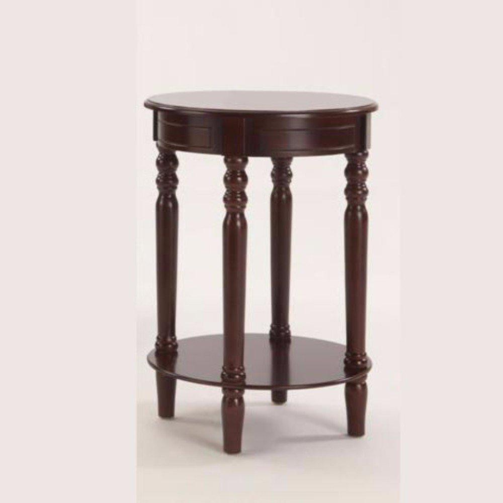 Benzara Round Wooden Chairside, Brown Tables One
