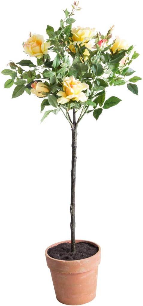 gelb Andreas k/ünstlicher Rosenkugelbaum im terrakottafarbenen Kunststofftopf