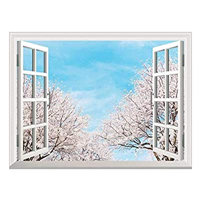 White Beach and Blue Sea View Window View Mural Wall Sticker (36