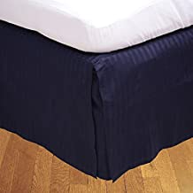 Relaxare Short Queen 300TC 100% Egyptian Cotton Navy Blue Stripe 1PCs Box Pleated Bedskirt Stripe (Drop Length: 10 inches) - Ultra Soft Breathable Premium Fabric
