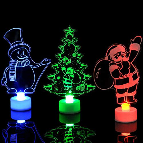 Caopixx Night Light for Christmas Tree Snowman Santa Night Light Gift Christmas Decoration Creative (ONE Size, C(Three -