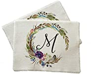 Boho monogram wreath placemats - set of two
