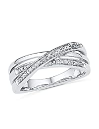 Sterling Silver Round Diamond Twisted Fashion Ring (0.03 cttw)