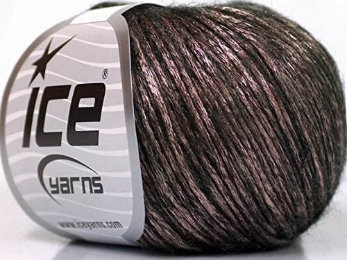 - Rock Star Pale Pink Metallic Sheen on Black, Soft Nylon, Merino Wool, Acrylic Blend Yarn, 50 Gram
