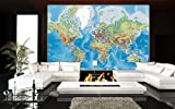 Prepasted Wall Mural Foto Wall Decor, World Map, 82.7 inch- 55.5 inch Picture