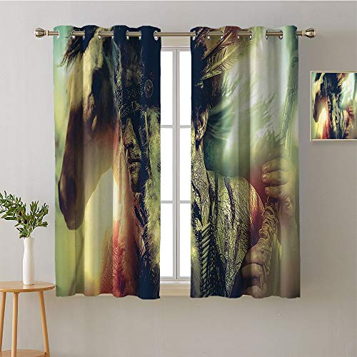 (Curtain for Living Room Grommets Home Darkening Curtains Print Darkening Curtains pop Darkening Curtains Bedroom/Living (1 Pair, 42