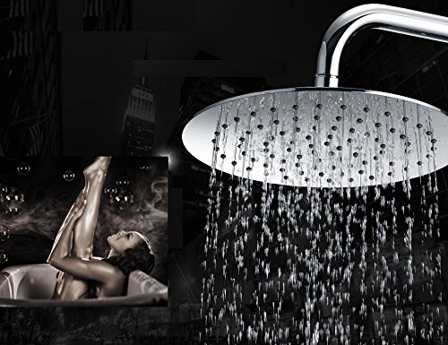 """Powerful Rainfall High Pressure Shower head 8"""" Round - Made FULL Stainless Steel - Ultra Thin & Self-Cleaning - Adjustable Swivel with Powerful Spray - (4in Downpour Showerhead)"""