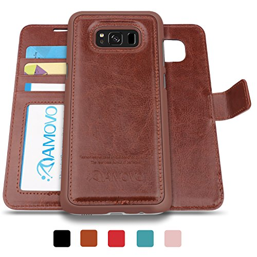 AMOVO Galaxy S8 Case, Samsung Galaxy S8 Wallet Case Cover [Detachable Wallet] [2 in 1] [Premium Vegan Leather]Samsung S8 Case Leather with Gift Package (Brown) - Leather Case Bundle