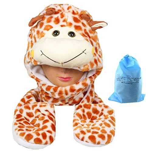 Pin Pink Fancy Hat (Silver Fever Plush Soft Animal Beanie Hat with Built-in Earmuffs, Scarf, Gloves Giraffe)