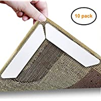 AMEITECH Rug Gripper,Home Non Slip Sticker Carpet Pad With Anti Curling, Multi Purpose Reusuable Nano Gel Pads for Office Kitchen Bathroom, 10 Pcs (White)