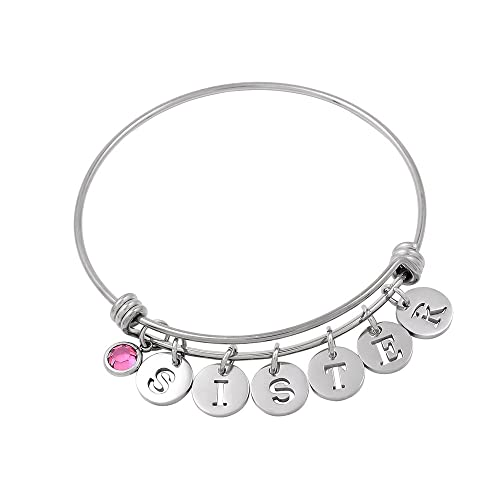 fea8a644d Amazon.com: constantlife Fashion Women Girl Charm Expandable DIY Cuff Bangle  with Birtstone and Letter Bracelet (1): Jewelry