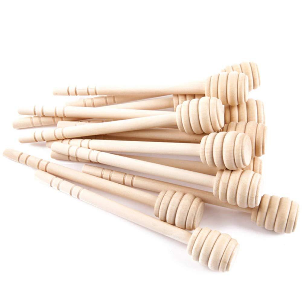 100 PCS wood honey dipper sticks, 6 inch server for honey Jar dispense drizzle honey