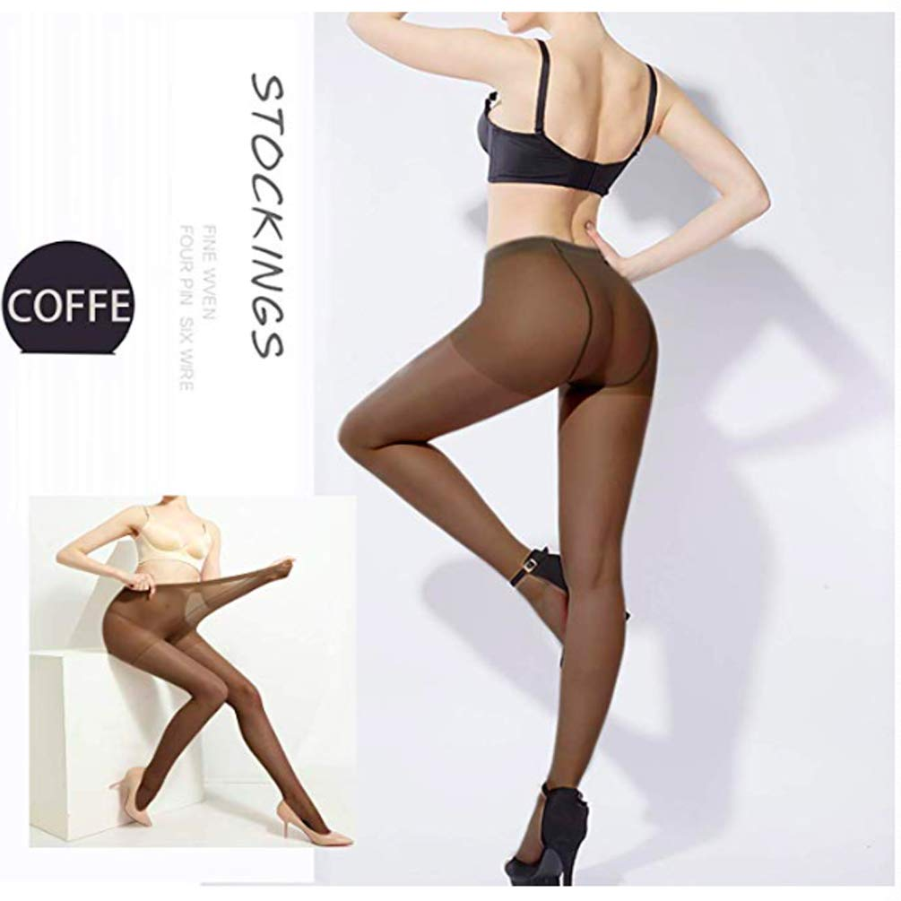 4 Pairs Pantyhose for Women Stretchable Control-Top Tights Slimming Silk Sheer (60D-Stockings)