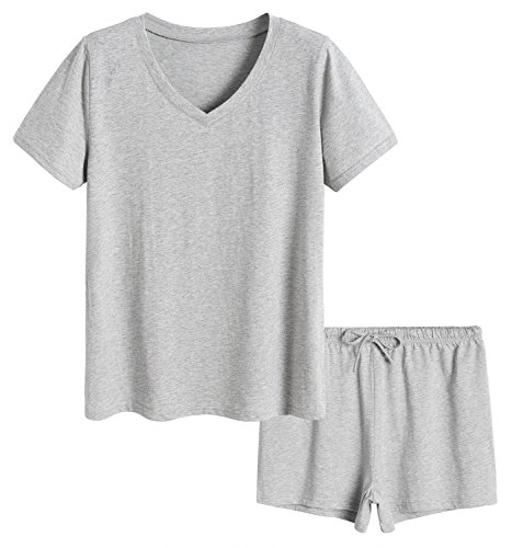Top Pajama Plus Size (Latuza Women's Cotton Pajamas Set Short Sleeves Top & Shorts 2X Light Gray)