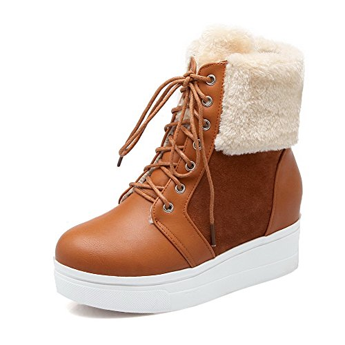 Women's Solid Kitten-Heels Round Closed Toe Blend Materials Lace-Up Boots
