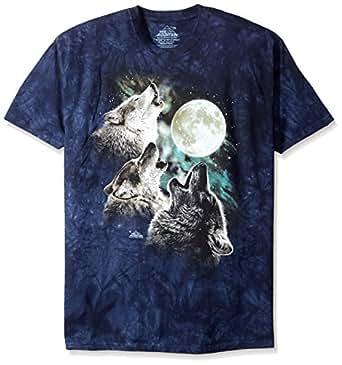 The Mountain Men's Three Wolf Moon Short Sleeve Tee, Blue, Small