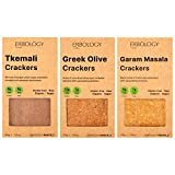 Erbology Organic Sprouted Buckwheat Crackers (12 x 1.8 oz Pack) Flavors: Tkemali, Garam Masala and Greek Olives For Sale
