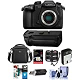 Panasonic Lumix DC-GH5 Mirrorless Camera Body, Black W DMW-BGGH5 Battery Grip - Bundle W/16GB SDHC U3 Card, Spare Battery, Camera Case, Cleaning Kit, Memory Wallet, Card Reader, Software