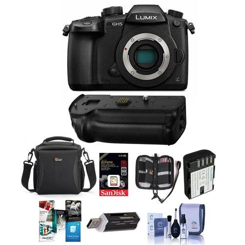 Panasonic Lumix DC-GH5 Mirrorless Camera Body, Black W/ Panasonic DMW-BGGH5 Battery Grip - Bundle W/16GB SDHC U3 Card, Spare Battery, Camera Case, Cleaning Kit, Memory Wallet, Card Reader, Software