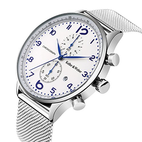 Watches Mens Fashion Business Waterproof Quartz Watch Full Stainless Chronograph - Creative Arabic Number Display (White)