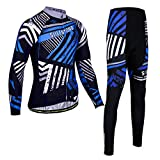 Long Sleeve Windproof Cycling Clothing Suit Sportswear Set + 3D Padded Pants Trousers Bicycle Underwear,B,XL