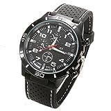 Jingjing1 Men's Sports Wrist Watches Quartz Military Watch Rubber Silicone Analog Wristband (White)
