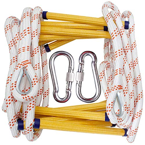 DaMai Escape Rope Ladder, Emergency Fire Soft Ladder,2 Mountaineering Ring Hooks, Non-Slip Yellow Resin Ladder Frame, Bearing Weight 420kg,Climbing Rope Ladder Climbing, Fitness Training Ladder,3m