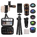 Cell Phone Camera Lens Kit, OUNUO 6 in 1 Kit 12X Zoom Telephoto Lens + 235° Fisheye Lens + 0.62X Wide Angle Lens + 20X Macro Lens + Professional CPL Lens + Starburst Lens + Phone Holder & Tripod
