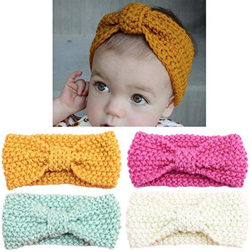 - Elesa Miracle Baby Hair Accessories Baby Girl's Gift Box with Knit Crochet Turban Headband Winter Warm Headband (4pc- Bow)