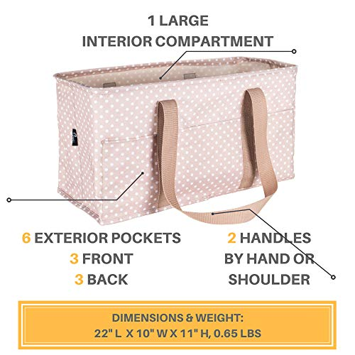 Large Laundry Tote Bag With Handles & 6 Exterior Pockets, Collapsible Clothes Hamper Basket Made from Polyester for College Dorm, Apartment or Home (Dots) by Pursetti (Image #2)