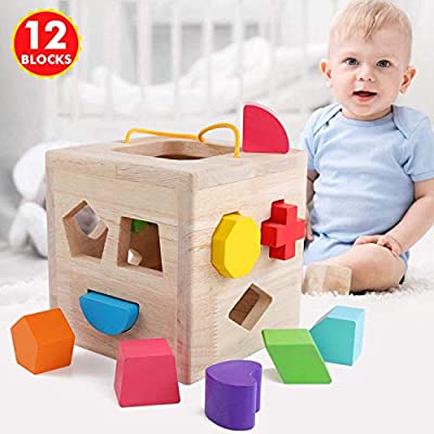 QZM Shape Sorter Toys with 12 Colorful Wood Geometric Shape Blocks and Sorter Sorting Cube Box Classic Wooden Developmental Toy for Preschool Toddlers Girl Boys Birthday Gift…: Toys & Games