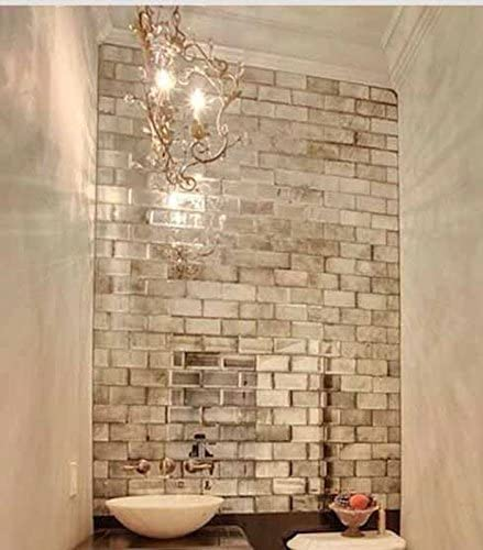 My Furniture Silver Mirrored Mirror Bevelled Wall Tiles Brick Sized Ideal For Bathroom Kitchen Amazon Co Uk Kitchen Home