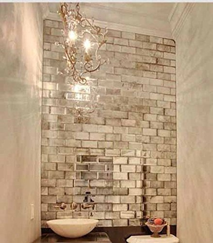 My Furniture Silver Mirrored Mirror Bevelled Wall Tiles Brick