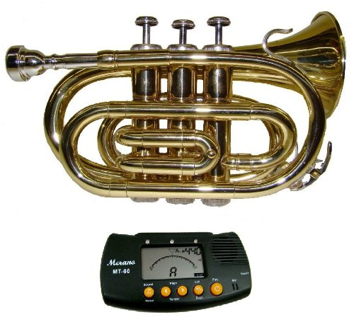 Price comparison product image MERANO GOLD LACQUER POCKET TRUMPET WITH CASE + FREE METRO TUNER