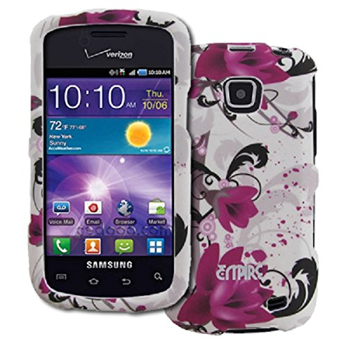 EMPIRE Samsung Illusion I110 Caoutchouté Design Dur Case Étui Coque Cover Couverture (Blanc with Purple Fleurss)