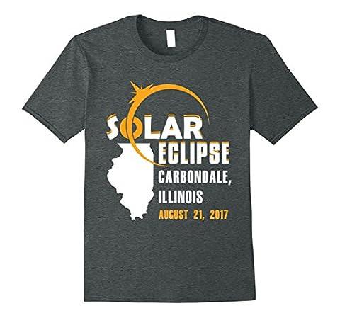Mens Solar Eclipse Shirt Carbondale Illinois Map Shirt 2017 2XL Dark Heather