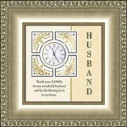 AT001 Catholic & Religious Table Clock Christian Verse - Husband