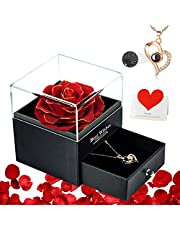 DUOSME Preserved Real Rose with Necklace and Memory Card,Eternal Handmade Flowers,Birthday Gifts for Women Mom Her Girlfriend in Anniversary,Christmas,Valentine's Day